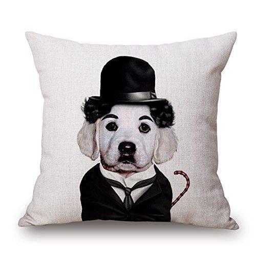koonicee 18 x 18 pulgadas/45 por 45 cm perro manta fundas de cojín adorno de cada lado y regalo para adultos café casa sala de estar silla de pub tienda: ...