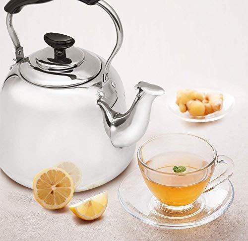 Tea Kettle Stovetop Teapot Stainless Steel Hot Water Kettle Whistling - Mirror Finsh,Folding Handle, Fast To Boil, 2 Liter Whistling Teakettles by Weftnom (Image #6)