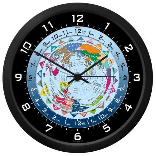 Multi Time Zone Clock (World Time Clock - 10 Inch)