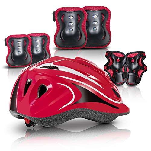 Kids Protective Gear Set, Helmet Knee Elbow Pads Wrist Guard Sport Protective 4 in 1 Boys and Girls Outdoor Sports Safety Set for Skating Rollerblading Scooter Cycling Sports(4-14 Years Old (Red)