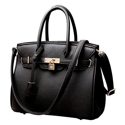 RW Collections Carey Designer Satchel Shoulder Crossbody Bag Handbag Purse (Black)