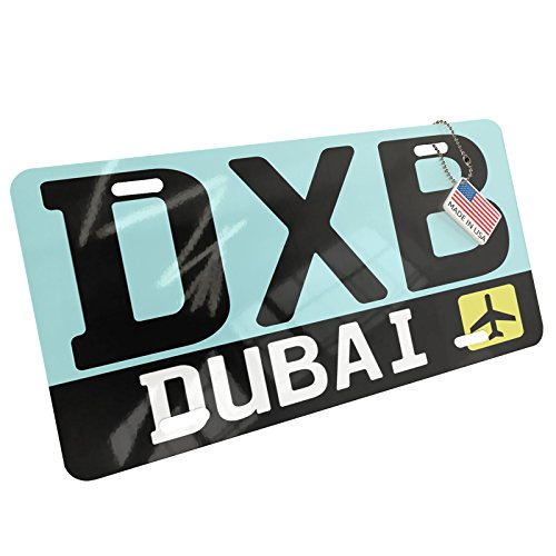 NEONBLOND Metal License Plate Airport code DXB/Dubai country: UAE
