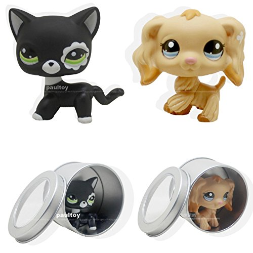 good luck store LPS 2 pcsLittlest Pet Shop Cocker Spaniel Puppy Dog black cat +GIFT - Set Gifts Spaniel