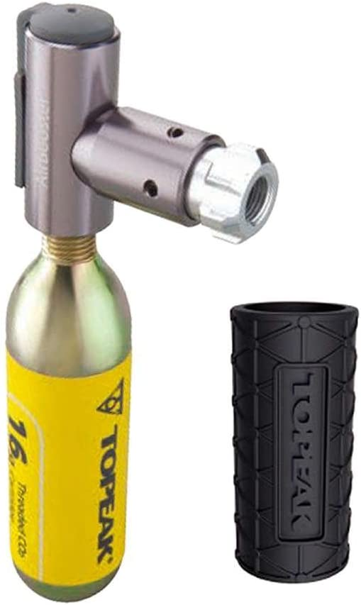 Topeak Air Booster CO2 Inflator Head with 1 Piece 16 g CO2 Cartridge Protective Sleeve