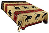 Splendid Exchange Southwestern Bedding Silhouette Collection, Mix and Match, Queen/Full Size Reversible Bedspread, Bronc Rider Tan and Black