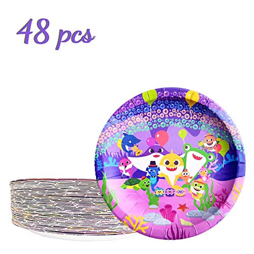 48 Baby Cute Shark Party Plates Birthday Decorations Disposable Paper Plates Set for Chirdren -