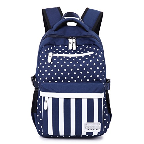Casual Backpack For Girls Teens Striped Canvas Cute School Book Bag Blue