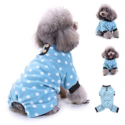Twinsmall_Pet accessories Adorable Polka Dots Fleece Dog Pajamas Pet Coats Soft Pjs Apparel (M, Blue)