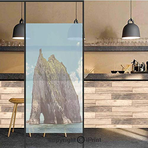 3D Decorative Privacy Window Films,Famous Elephant Shape Rock with The Grand Hole in Bay of Islands Nz Cavern Peace Photo,No-Glue Self Static Cling Glass Film for Home Bedroom Bathroom Kitchen Office