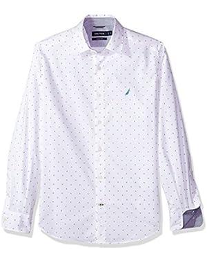 Men's Classic Fit Long Sleeve Print Pattern Button Down Shirt