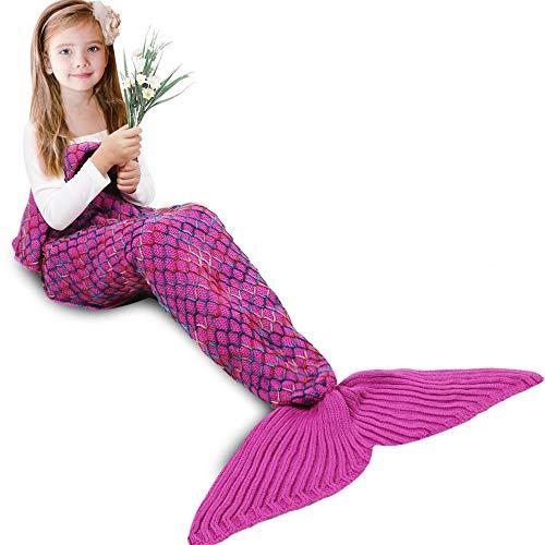 AmyHomie Mermaid Tail Blanket, Mermaid Blanket Adult Mermaid Tail Blanket, Crotchet Kids Mermaid Tail Blanket for Girls (Rainbow, Kids)]()