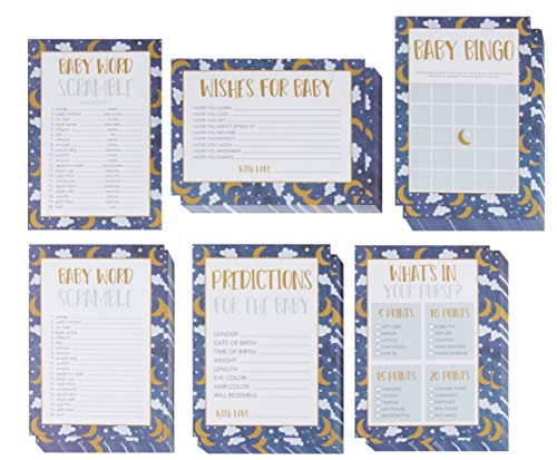 Baby Shower Game Card Packs - 5-Set Party Activity Supplies for 50 Guests, Including Bingo, Word Scramble, and Well Wishes, Moon, Clouds, and Stars Design, 50 Sheets, 5 x 7 -