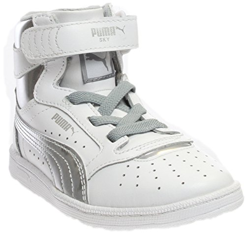 PUMA Kids' Sky II HI Foil PS Sneaker, Puma White/Puma Silver, 3 M US Little Kid