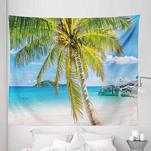 Lunarable Palm Tree Tapestry King Size, Wonders of The World Beach Scene with Rocks and Swimming People Image Print, Wall Hanging Bedspread Bed Cover Wall Decor, 104 X 88 , Turquoise Green