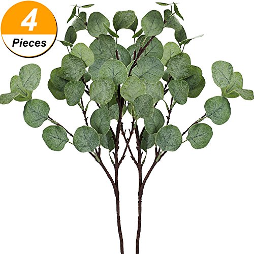 Tatuo 4 Pieces Artificial Dollar Leaf Fake Eucalyptus Leaves Crafts Eucalyptus Branches for Wedding Party Home Decoration
