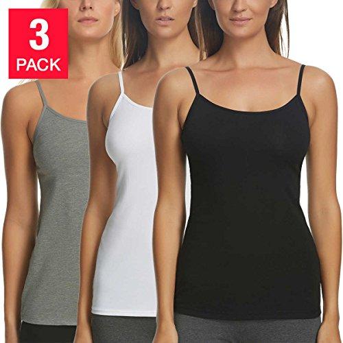 Felina Damen Cami, 3er Pack -Black, White, Gray, XL