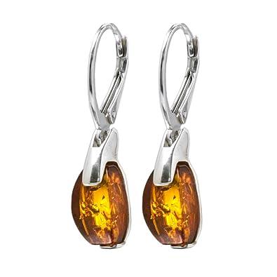 Black Cherry Amber Sterling Silver Contemporary Lever Back Earrings UT7RzEDLt