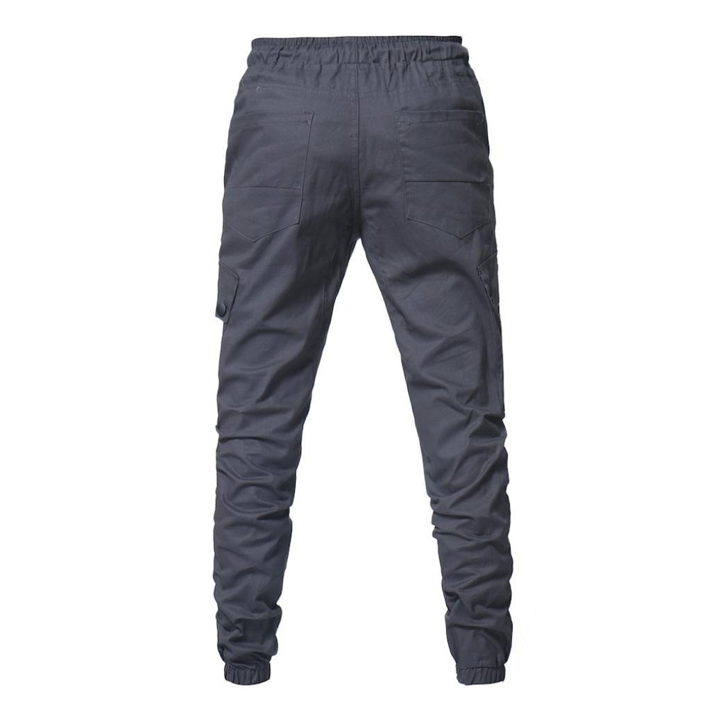 Willsa Fashion Men Multi Pocket Sport Pure Color Elastic Waist Casual Sweatpants Drawstring Pant