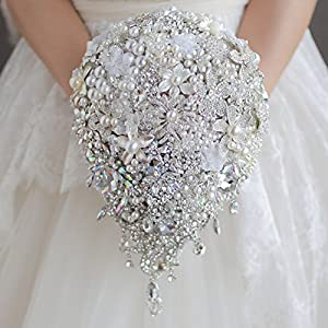 Bridal bouquet Luxurious wedding accessories Brooch bouquet Ivory Gray Crystal Wedding Bouquet Silk Wedding flowers DIY decor 96