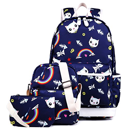 Kemy's Cat School Backpack for Girls Set 3 in 1 Cute Kitty Printed Bookbag 14inch Laptop School Bag for Girls Water Resistant Gift, Navy Blue
