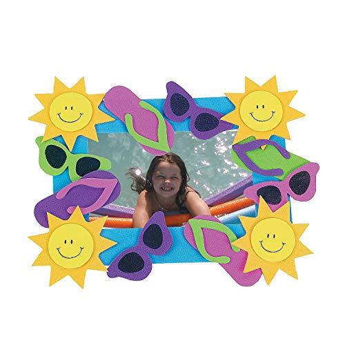 Fun Express Foam Summer Fun Photo Frame Magnet Craft Kits - Pack of 12