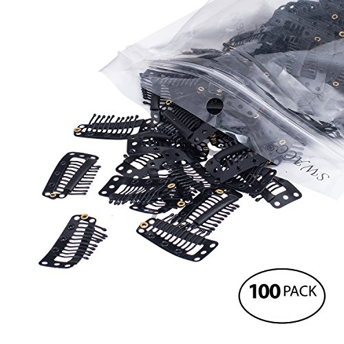 - SWACC 100 Pcs U Shape Metailic Snap Clips ins for Hair Extension Hairpiece DIY Snap-Comb Wig Clips with Rubber (Black, 10-Teeth 9 holes)