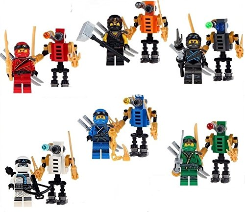 New Ninja Movie Minifigures Set from Masters of Spinjitzu - 12pc with 6 ninja figures and 6 mini robots - Ghost Building Blocks Compatible with other brands of (Lloyd From Ninjago)