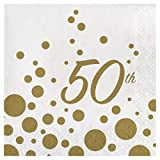 32 Lunch Napkins 6.5'' x 6.5'' for 50th Anniversary, Glitters in Gold Great for Party or Event