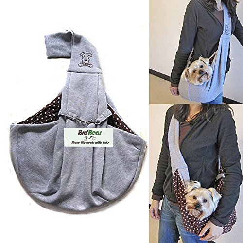 I'PetR Hands-free Reversible Small Dog Cat Sling Carrier Bag Travel Tote Soft Comfortable Puppy Kitty Rabbit Double-sided Pouch Shoulder Carry Tote Handbag (Grey) by i'PetR