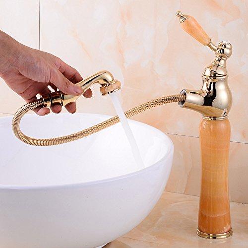 ETERNAL QUALITY Badezimmer Waschbecken Wasserhahn Messing Hahn Waschraum Mischer Mischbatterie Tippen Sie auf die Jade-Kupfer Becken C Küchenspüle Armaturen