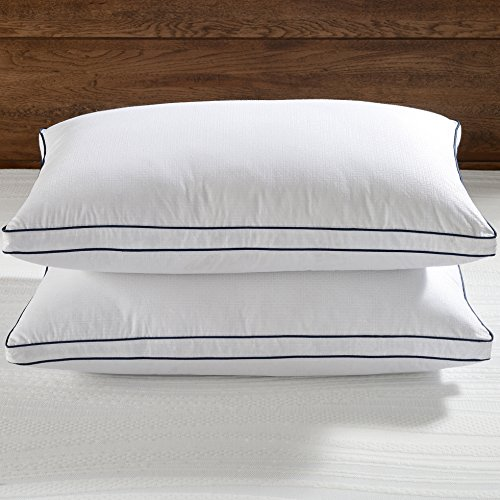 Basic Beyond Greek Key Patterns, Gusseted, Triple Compartment, 650 Fill Power Egyptian Cotton Standard/Queen Goose Down Pillow White, Set of 2
