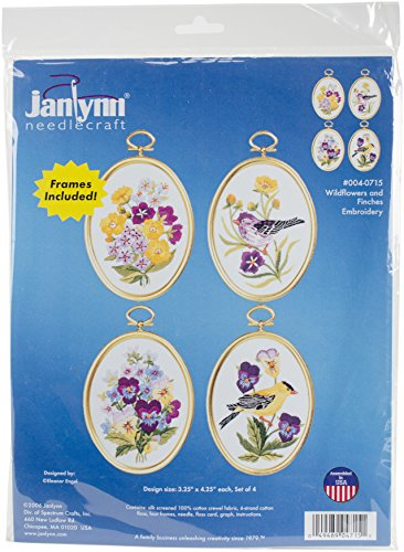 Janlynn Embroidery Kit, 4-1/4-Inch by 3-1/4-Inch, Wildflowers and Finches from Janlynn