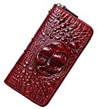 PIJUSHI Wristlet Wallet For Women Crocodile Leather Wallet Ladies Clutch Purse (1058 Dark Red Croco)