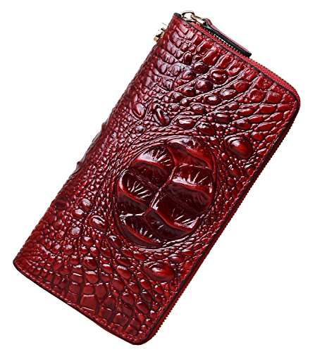 Clutch Croco Collection (PIJUSHI Wristlet Wallet For Women Crocodile Leather Wallet Ladies Clutch Purse (1058 Dark Red Croco))