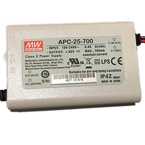 2pcs Mean Well APC-25-700 Constant Current 25w 700mA Power Supply LED Driver UL (Ulcs Adapter)