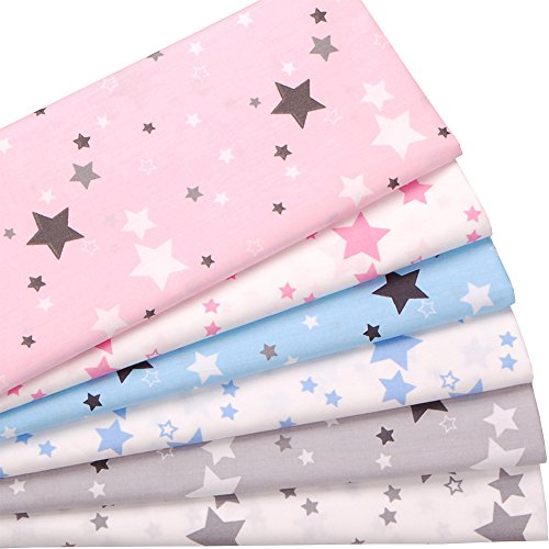 Cotton Print Quilting Fabric - Stars Print 100% Cotton Fabric 6 Pcs Fat Quarters Quilting Fabric Bundles for Crafting Sewing,18