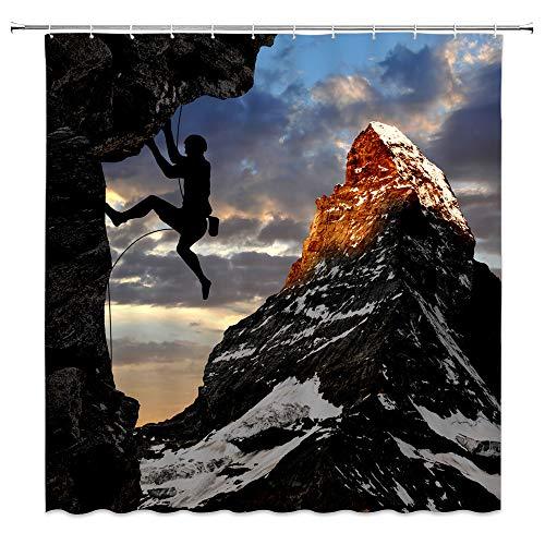 dachengxing Man Sport Shower Curtain Rock Climbing Decor Outdoor Adventure Silhouette of Player Climbing Snow Mountain Dusk Nature,Waterproof Black Blue Fabric Hooks Included 70x70 Inch