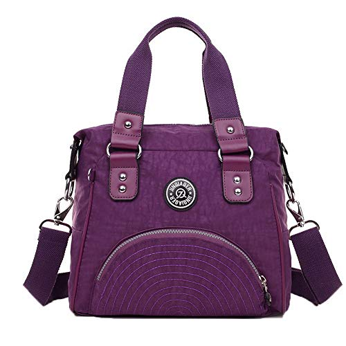 Purple Bags Buckle Purple AgooLar GMDBA203506 Bags Tote Casual Crossbody Nylon Women's 6nZ4nqwz