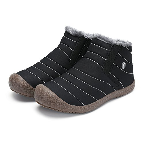 SAGUARO Mens Warm Faux Fur Line Bootie Winter Slip On Ankle Boots Shoes Black Aa 09Py1wcL3