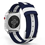 MoKo Band for Apple Watch Series 3 Bands, Fine Woven Nylon Adjustable Replacement Band Sport Strap for iWatch 42mm 2017 series 3 / 2 / 1, Blue & White (Not fit 38mm Versions)