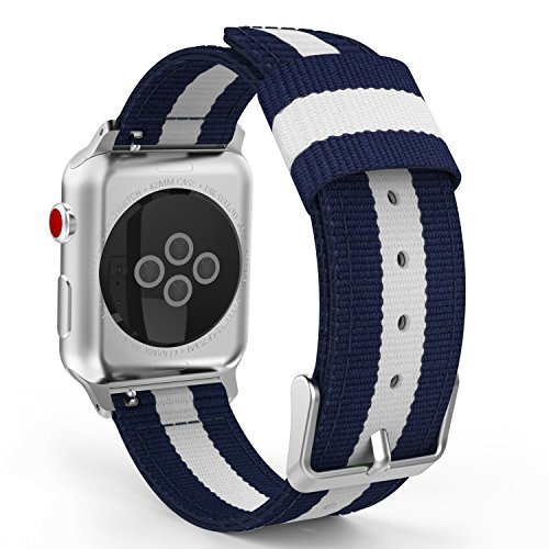 MoKo Compatible for Apple Watch Band, Fine Woven Nylon Adjustable Replacement Band Sport Strap Fit iWatch 42mm 44mm Series 4/3 / 2/1, Blue & White (Not fit 38mm 40mm Versions)