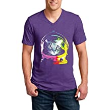 Xekia Space Cat Men V-Neck T-Shirt