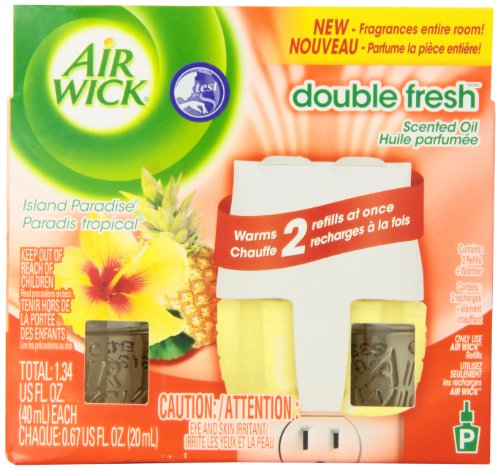 Air Wick Scented Oil Plug In Air Freshener Double Fresh Starter Kit, Island Paradise Scent, 1 Count -