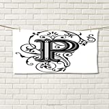 smallbeefly Letter P Sports Towel Floral Swirls Essence Blooms Letters Baroque Inspired Initials Design Print Absorbent Towel Black Grey White Size: W 12'' x L 35.11''