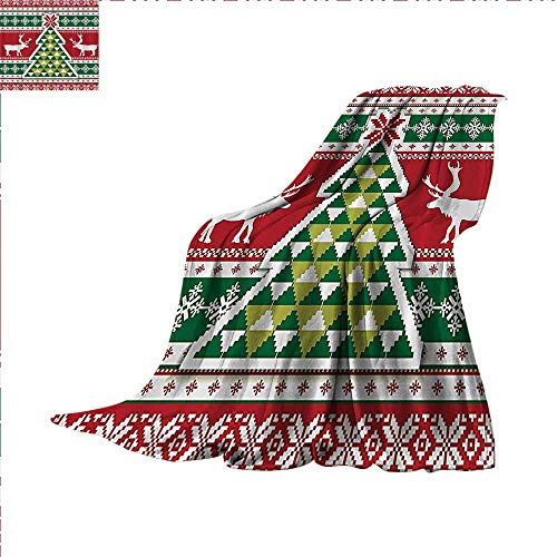 (Christmas Knitting Digital Printing Blanket Christmas Tree Christmas Water Soap and Mildew Resistant Machine Washable Summer Quilt Comforter 60