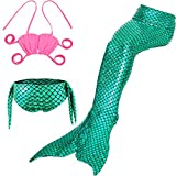 LOTOYS 3 Pcs Girls Swimsuit Bikini Mermaid Tails for Swimming Can Add Monofin Travel Back to School Office Gift