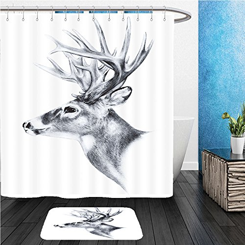 Beshowereb Bath Suit: ShowerCurtian & Doormat hand drawn image of big white tail buck head with large antlers white tail deer vector illustration - Images Macy's