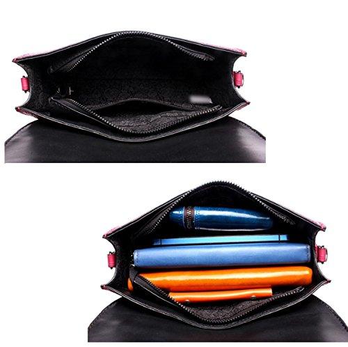 Mujer Nuevo Estilo Moda PU color De Costura Cuadros Alta Capacidad Bolso De Hombro Solo Bolso De Hombro Inclinado Black