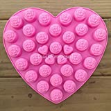36 Roses In One Heart With Love Silicone Mold Valentine's Day Chocolate Butter Candle Candy Cookie Ice Cake Baking Bakeware Soap