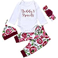 Newborn Baby Girls' Clothes Daddy's Princess Rompers+Pants+Cap+Hairband 4pcs Set